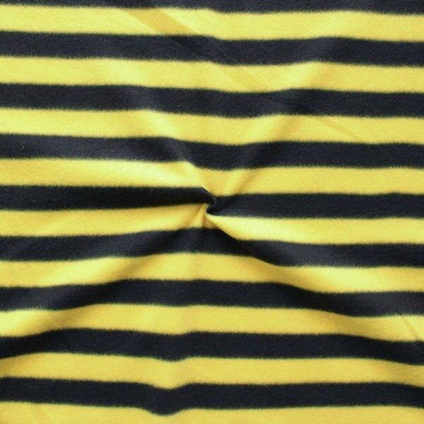 "Polar Fleece antipilling ""Streifen"" Farbe Schwarz-Gelb"