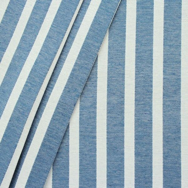 Dekostoff Längsstreifen Jeans-Blau Natur