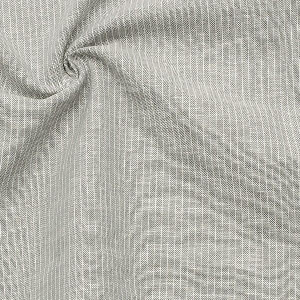 Leinen-Baumwolle Nadelstreifen Hell-grau