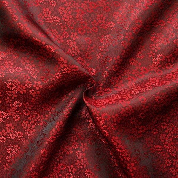 "Futterstoff Jacquard ""Millefleurs 8"" Farbe Rot-Weinrot changierend"