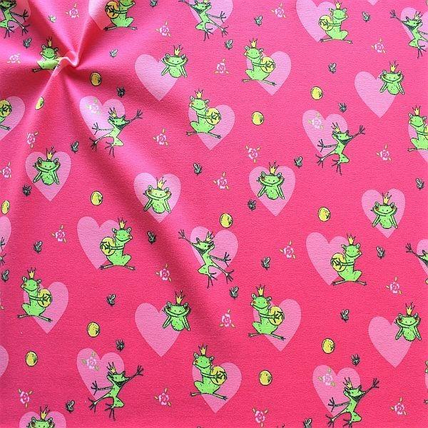 Baumwoll Stretch Jersey Froschkönig Pink