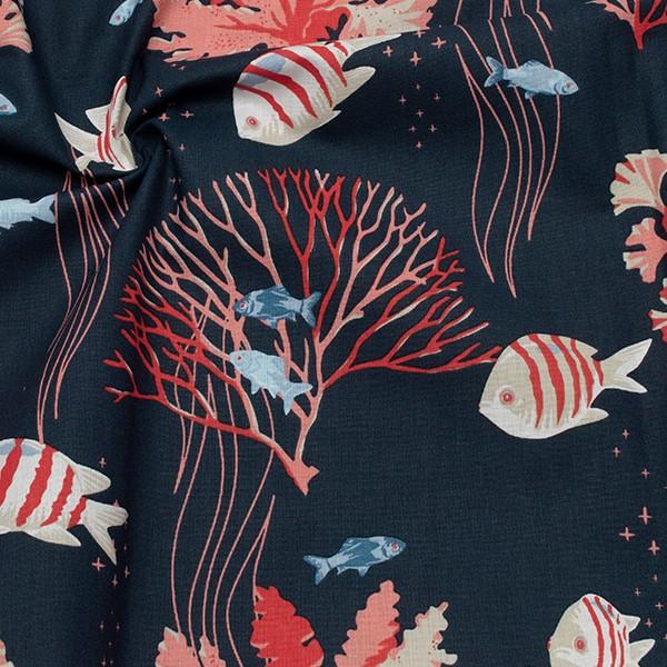 Baumwollstoff Cretonne Fische und Korallen Dunkel-Blau