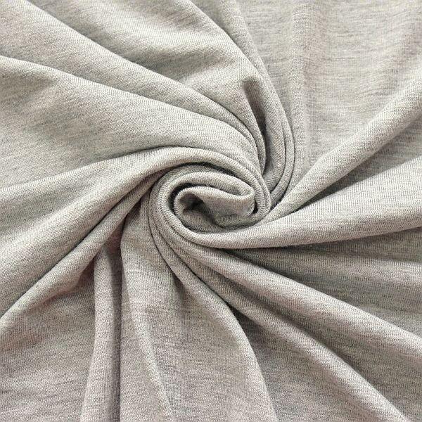 Viskose Stretch Jersey Basic Hell-Grau  meliert