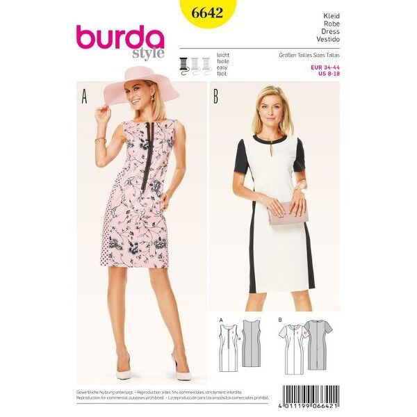 Kleid – schmale Etuiform mit Teilungsnähten, Gr. 34 - 44, Schnittmuster Burda 6642