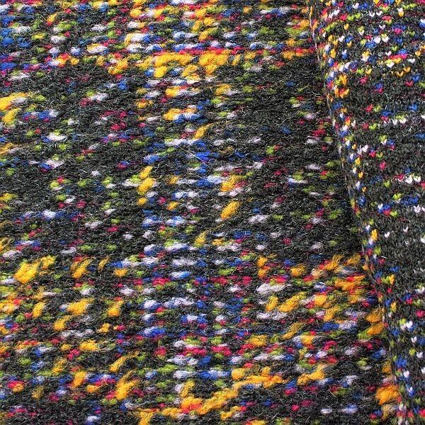 Bouclé Wollmix Strick Stoff Colorful Anthrazit-Multicolor