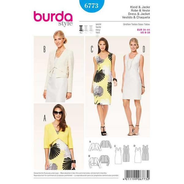 Kleid – ärmellos, Jacke – hüftkurz, Gr. 34 - 44, Schnittmuster Burda 6773
