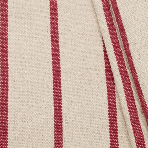 100% Baumwolle Panama schwere Qualität Streifen Natur-Rot