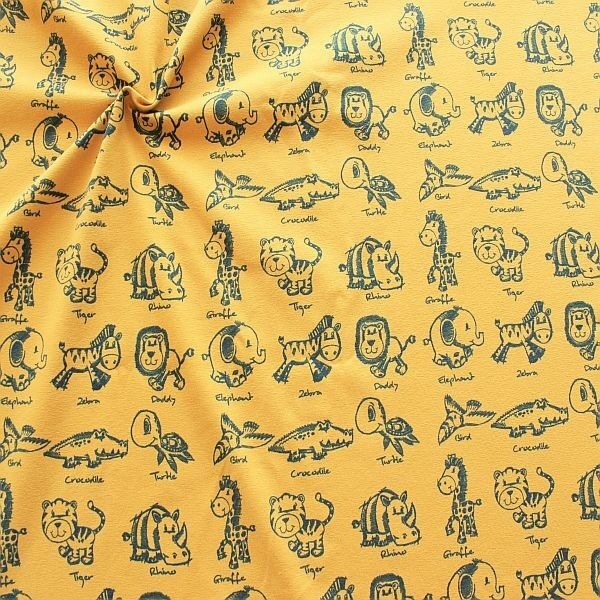 Baumwoll Stretch Jersey Wildtier Kinder Ocker-Gelb