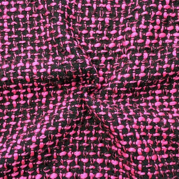 Bouclé Strick- Modestoff Artikel Caro Farbe Schwarz-Pink