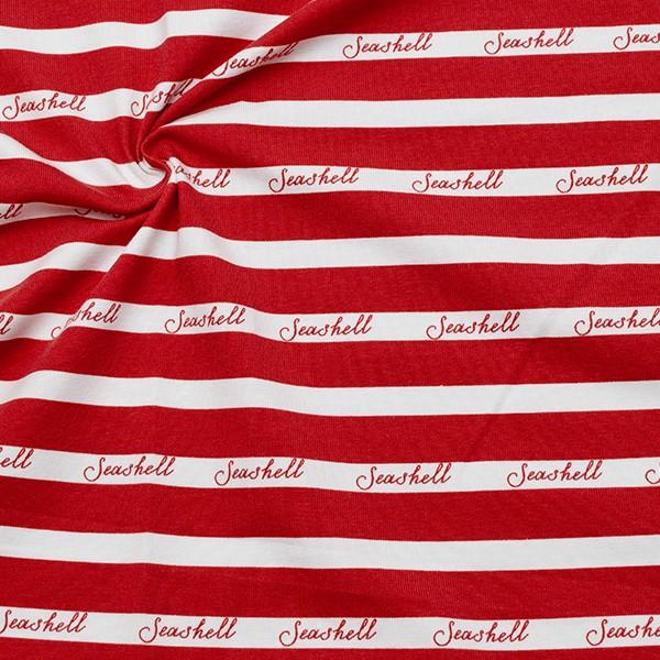 Baumwoll Stretch Jersey Seashell Stripes Weiss-Rot