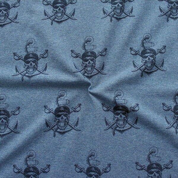 Sweatshirt Baumwollstoff French Terry Skull Tattoo Style Blau meliert