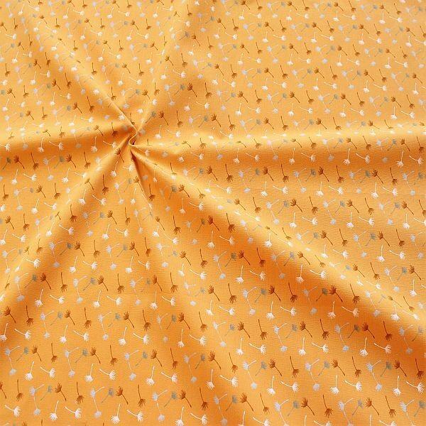 Baumwollstoff Pusteblumen klein Curry-Gelb