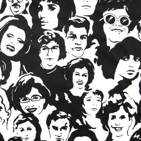 """Dekostoff """"Faces"""" Farbe Schwarz-Weiss"""