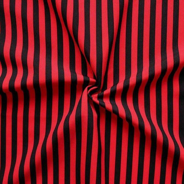 Modestoff / Dekostoff universal Streifen Rot-Schwarz