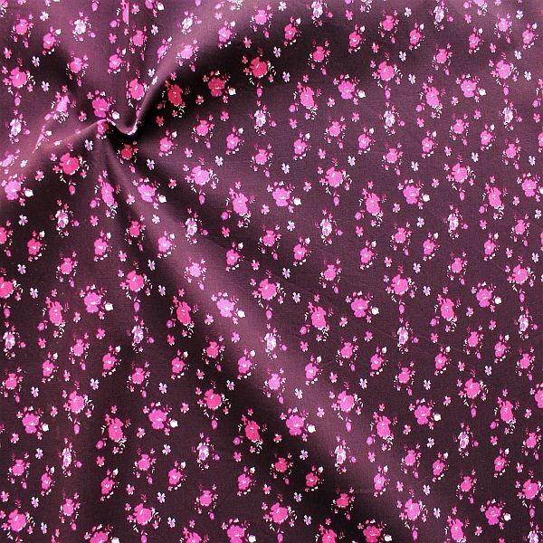 Baumwoll Popeline Folklore Blüten Mix Aubergine