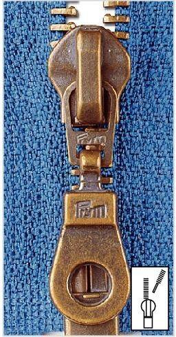 Metall Reißverschluss M5 Typ 10 teilbar 55 cm Altmessing - Farbe frei wählbar