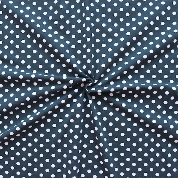 "Baumwoll Stretch Jersey ""Classic Dots"" Farbe Navy-Blau"