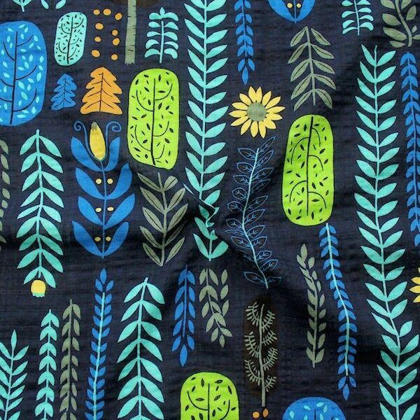 "Baumwolle Viskose Modestoff ""Fashion Print Floral"" Farbe Dunkel-Blau"