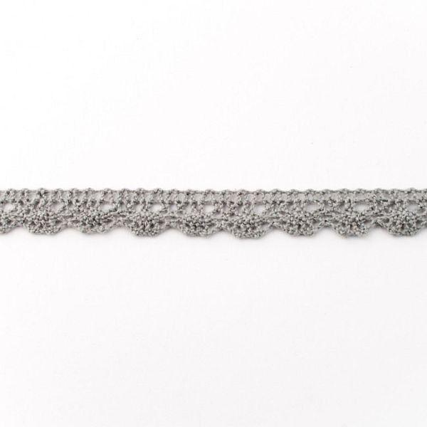 Baumwollspitze Breite 12mm Farbe Dunkel-Grau