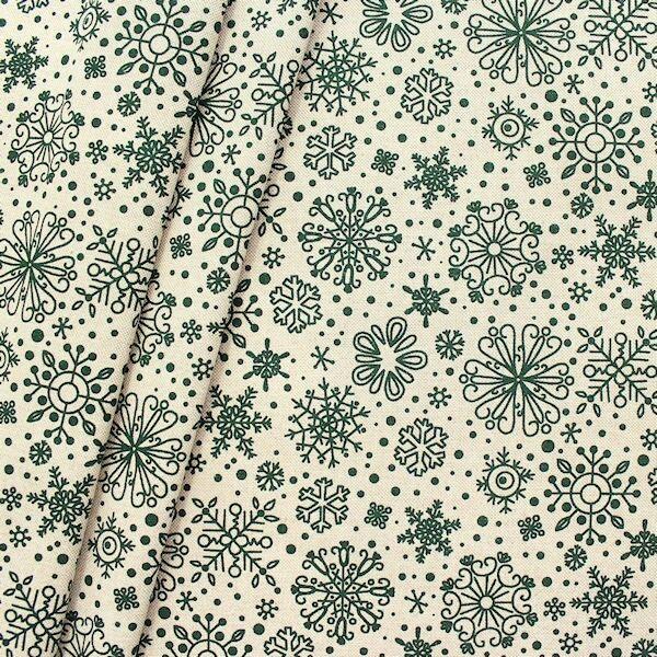 """Dekostoff """"Schneekristalle"""" Farbe Natur-Grün"""