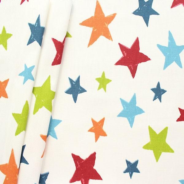 "Design Dekostoff Halbpanama ""Superstar "" Farbe Creme-Weiss Multicolor"