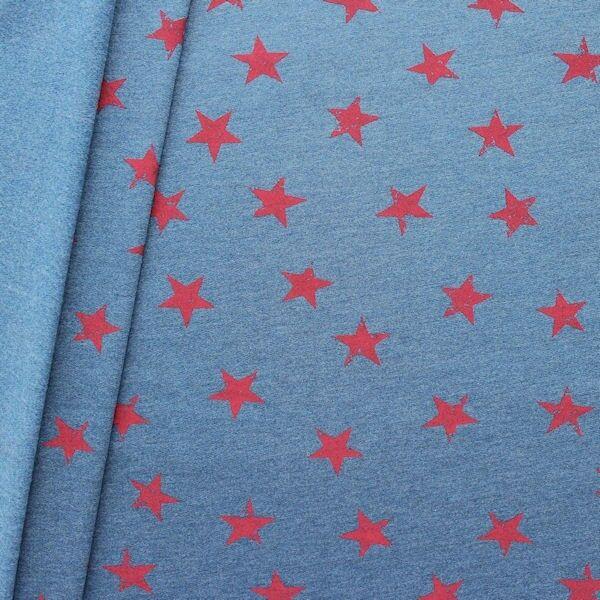 """2,00 Meter Sweatshirt Baumwollstoff """"Sterne Used Look"""" Farbe Blau meliert-Rot"""
