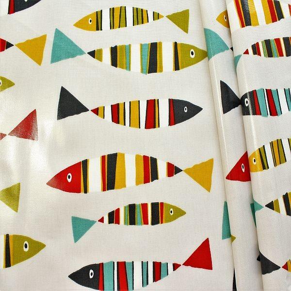 Design Dekostoff beschichtet Sardines Ecru-Multicolor