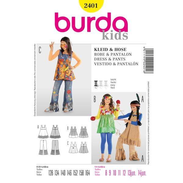 Burda 2401 Schnittmuster mit Kostümvarianten Indianerin, Hippie und Hawaii-Mädchen