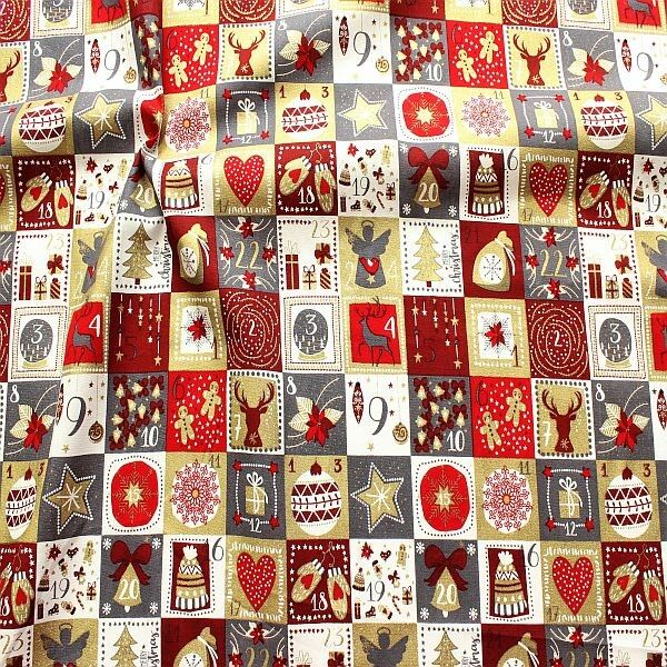Baumwolle Popeline Weihnachts Kalender Grau-Rot-Gold