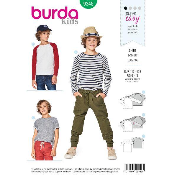 Burda 9346 Schnittmuster für Shirt mit Raglanärmeln