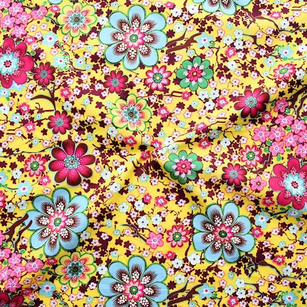 Baumwolle Popeline Flower Power Gelb