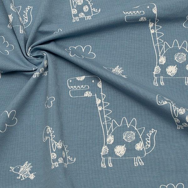 Baumwoll Stretch Jersey Dinos & Vögel Blau-Grau