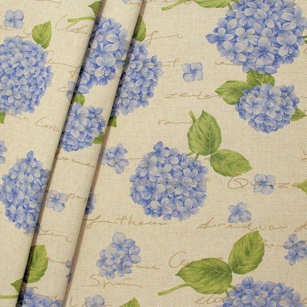 """Dekostoff """"Hortensie"""" Farbe Natur-Blau"""