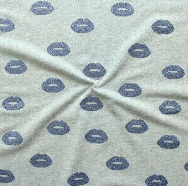 """Sweatshirt Baumwollstoff French Terry """"Glitter Lips"""" Farbe Blau"""