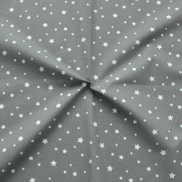 Baumwollstoff Sterne Mix Dunkel-Grau