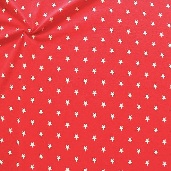 Baumwoll Stretch Jersey Classic Stars Rot-Weiss