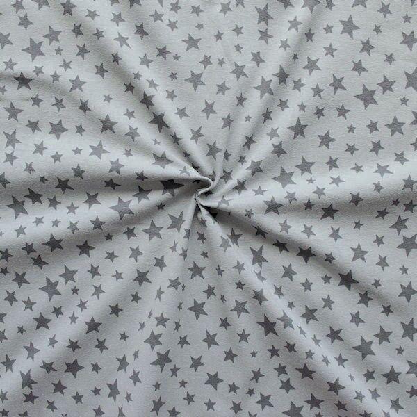 "Baumwoll Stretch Jersey ""Sterne Mix 7"" Farbe Grau"