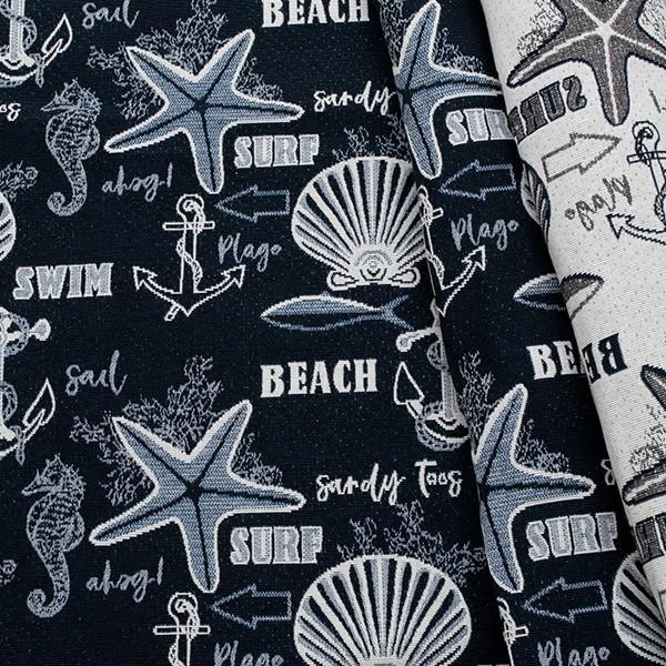 Jacquard Dekostoff Doubleface Beachlife Navy-Blau Ecru