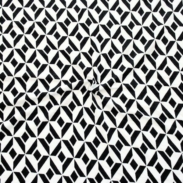 "Viskose Stretch Jersey ""Retro Graphic Print"" Farbe Schwarz-Ecru"