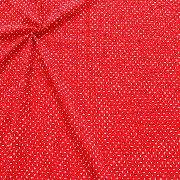Baumwoll Stretch Jersey Punkte Klein Rot