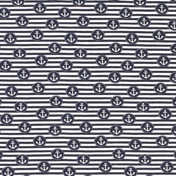 Baumwoll Stretch Jersey Anker & Streifen Marine-Blau