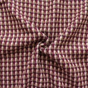 "Wollstoff ""Karo Mix"" Farbe Bordeaux-Violett"