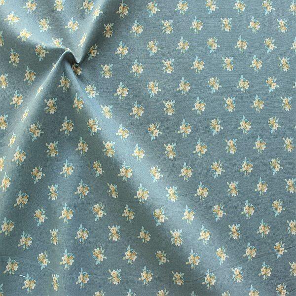Baumwolle Popeline Folklore Blüten Blau-Grau