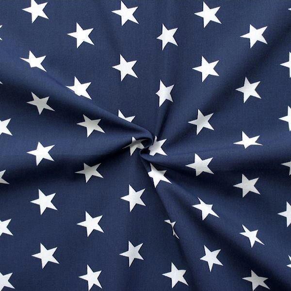 "3,40 Meter 100% Baumwolle Popeline ""Classic Stars"" Farbe Dunkel-Blau Weiss"