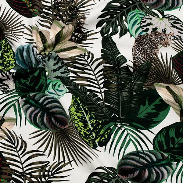 Baumwoll Stretch Jersey  Leopard Dschungel Weiss-Multicolor