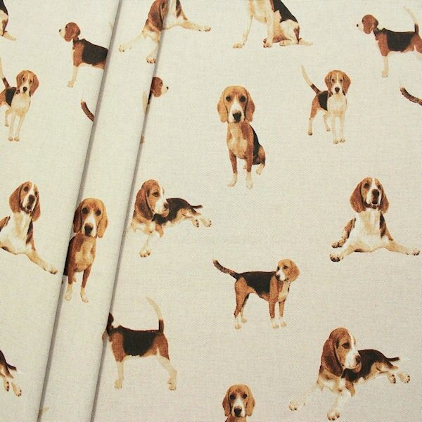 "Dekostoff ""Beagle"" Farbe Natur"
