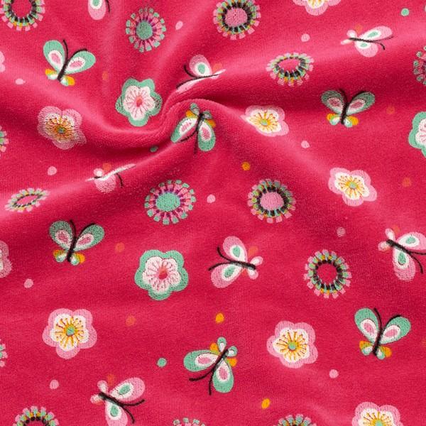 Nicki Baumwollstoff Schmetterlinge und Blumen Farbe Pink