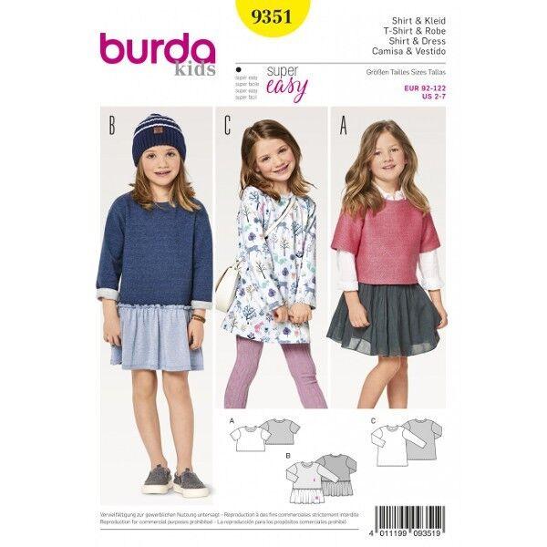 Shirt – Kleid – Shirtkleid, Gr. 92 - 122, Schnittmuster Burda 9351