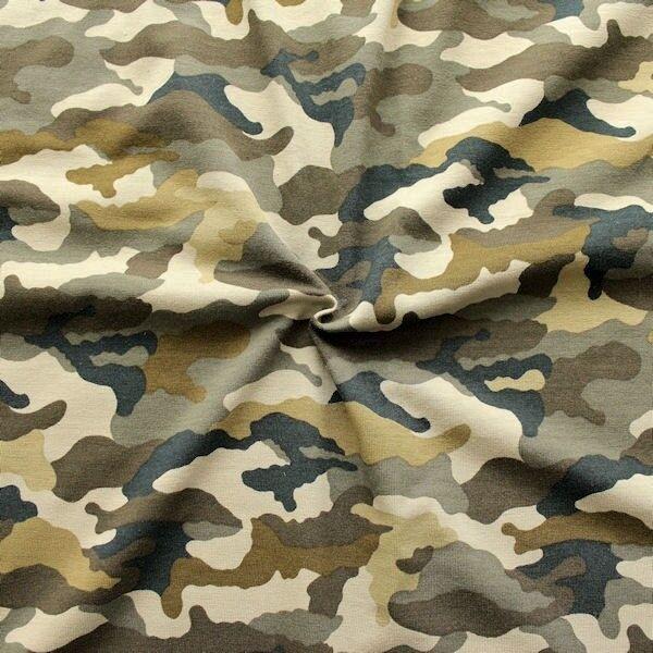 "Baumwoll Stretch Jersey ""Camouflage 4"" Farbe Khaki"