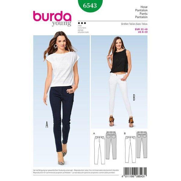 Schmale Hose - Jeans, Gr. 32 - 46, Schnittmuster Burda 6543